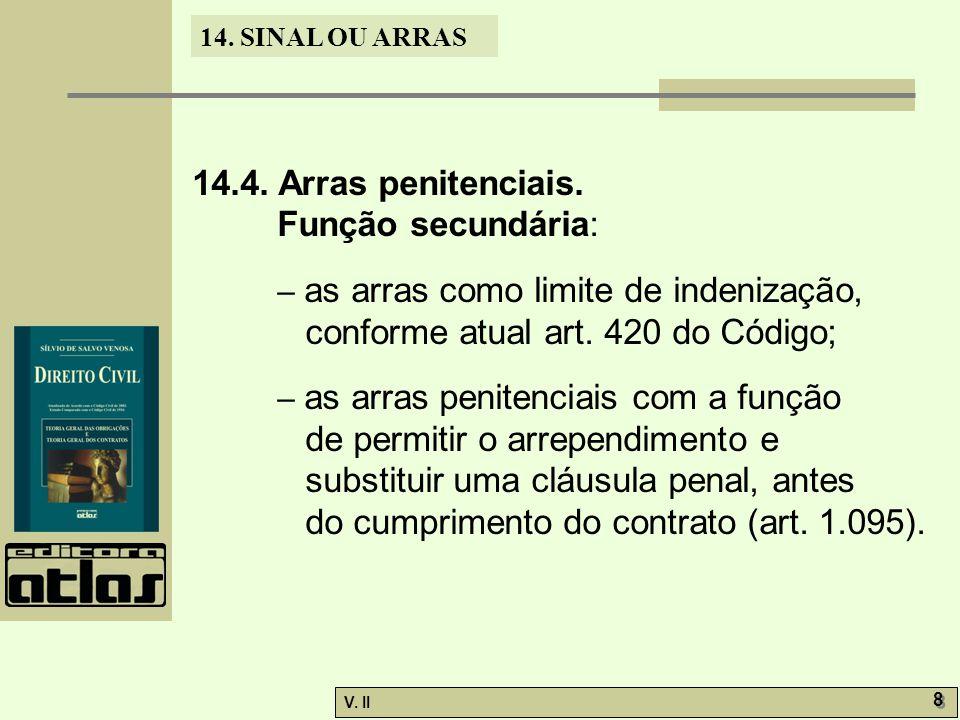 14.4. Arras penitenciais. Função secundária: – as arras como limite de indenização, conforme atual art. 420 do Código;