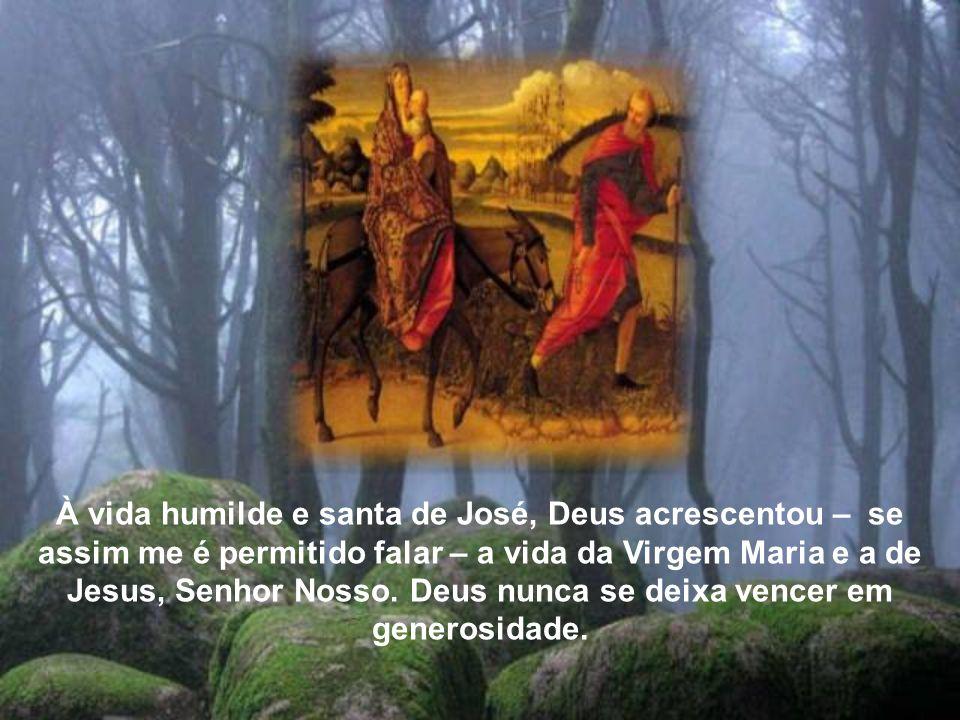 À vida humilde e santa de José, Deus acrescentou – se assim me é permitido falar – a vida da Virgem Maria e a de Jesus, Senhor Nosso.