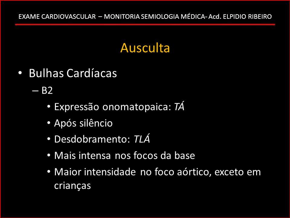 Ausculta Bulhas Cardíacas B2 Expressão onomatopaica: TÁ Após silêncio