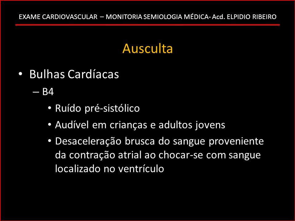 Ausculta Bulhas Cardíacas B4 Ruído pré-sistólico