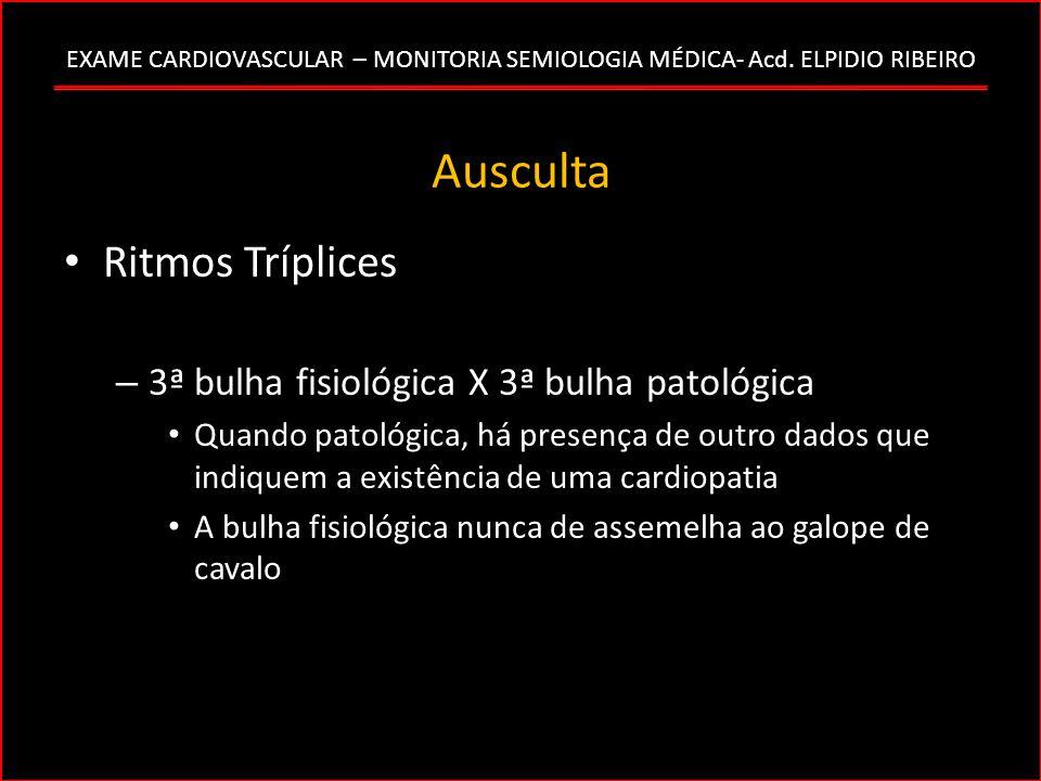 Ausculta Ritmos Tríplices 3ª bulha fisiológica X 3ª bulha patológica