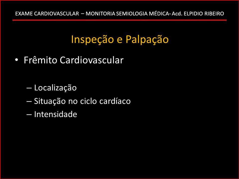 Inspeção e Palpação Frêmito Cardiovascular Localização