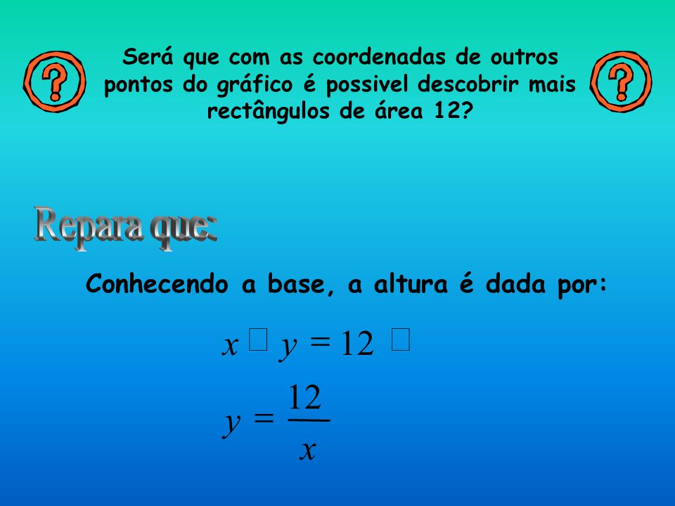 Será que com as coordenadas de outros pontos do gráfico é possivel descobrir mais rectângulos de área 12