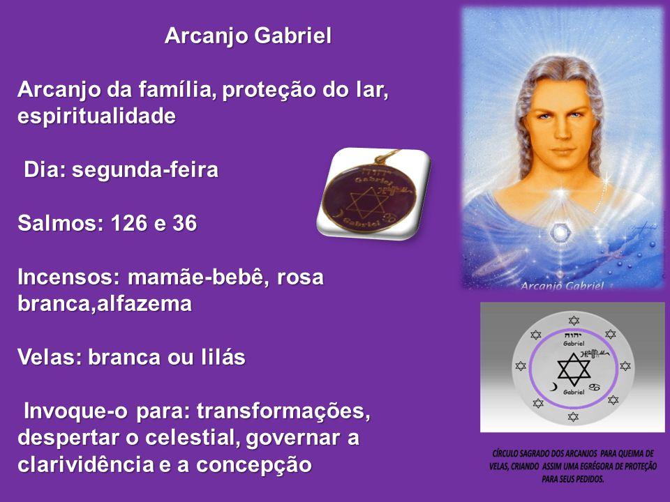 Arcanjo Gabriel Arcanjo da família, proteção do lar, espiritualidade Dia: segunda-feira. Salmos: 126 e 36.
