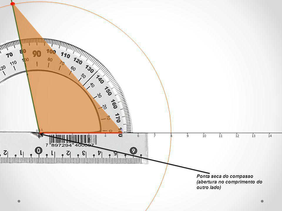 Ponta seca do compasso (abertura no comprimento do outro lado)