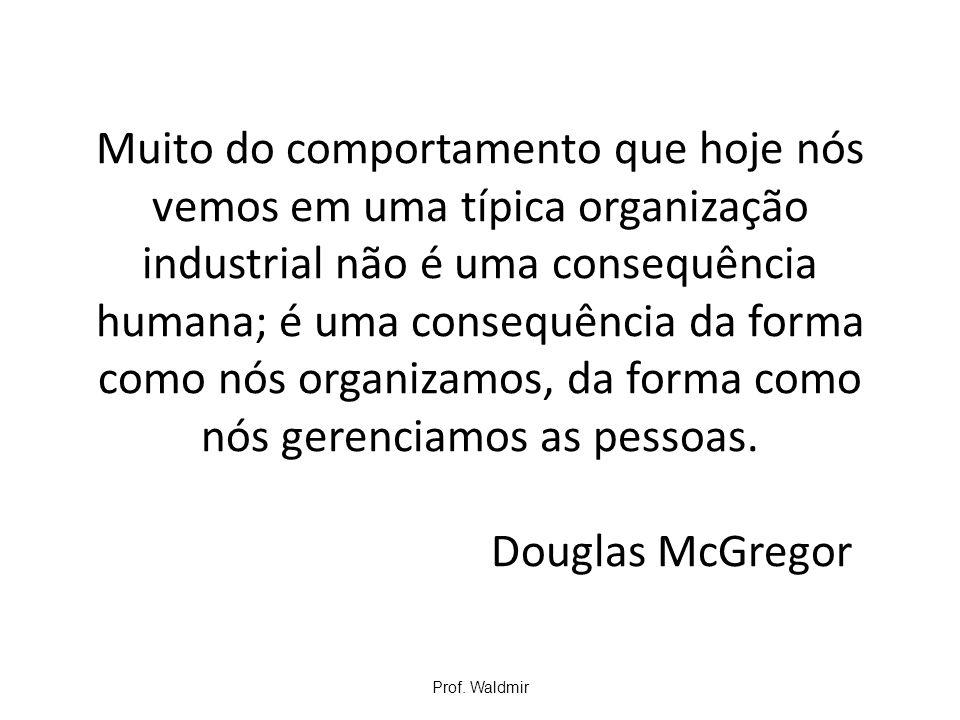 Muito do comportamento que hoje nós vemos em uma típica organização industrial não é uma consequência humana; é uma consequência da forma como nós organizamos, da forma como nós gerenciamos as pessoas. Douglas McGregor