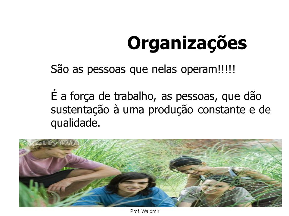Organizações São as pessoas que nelas operam!!!!!