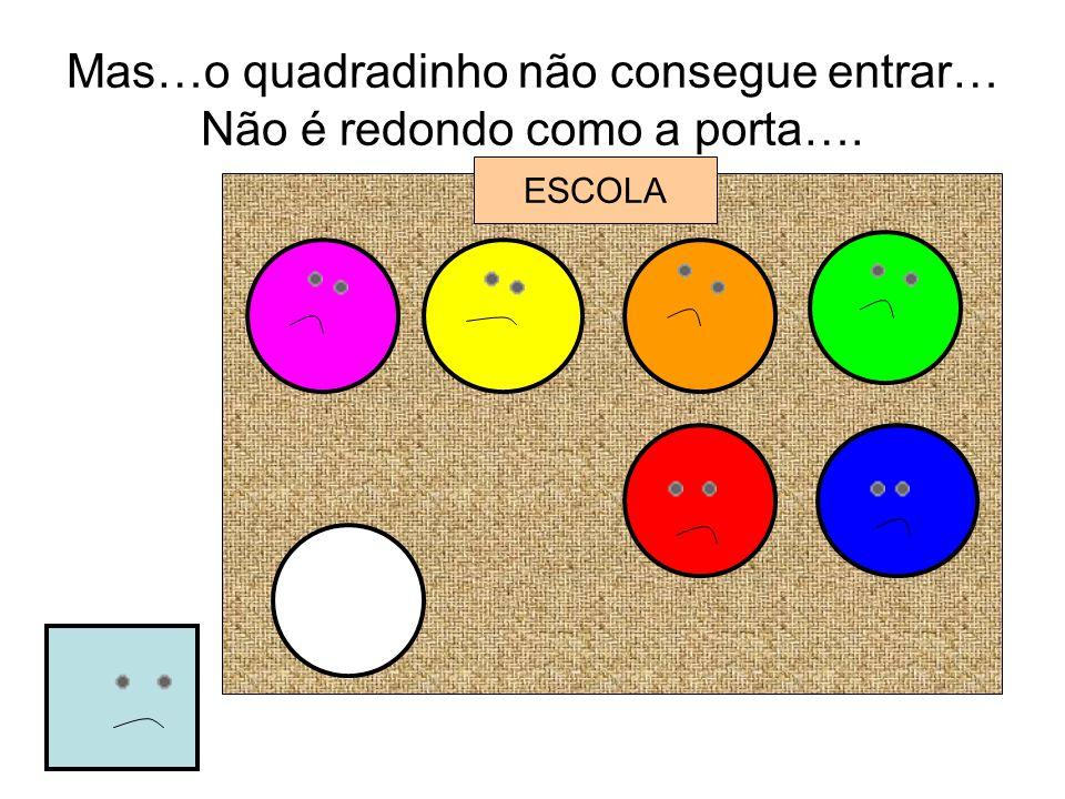 Mas…o quadradinho não consegue entrar… Não é redondo como a porta….