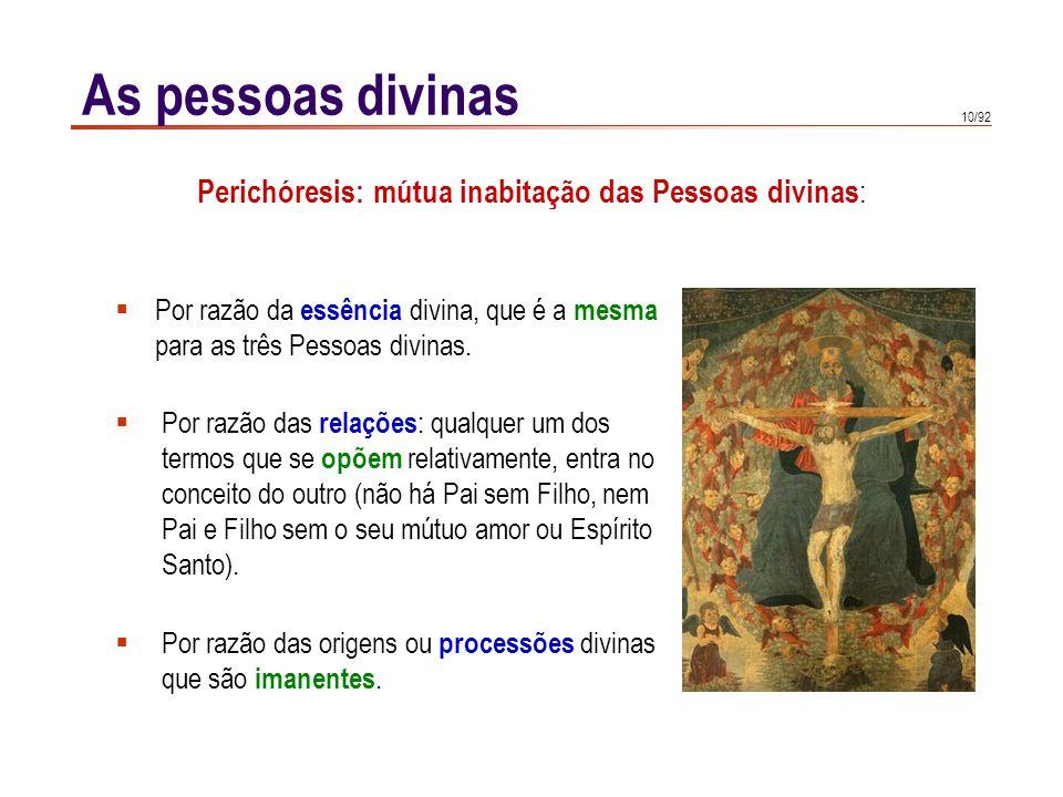 Perichóresis: mútua inabitação das Pessoas divinas: