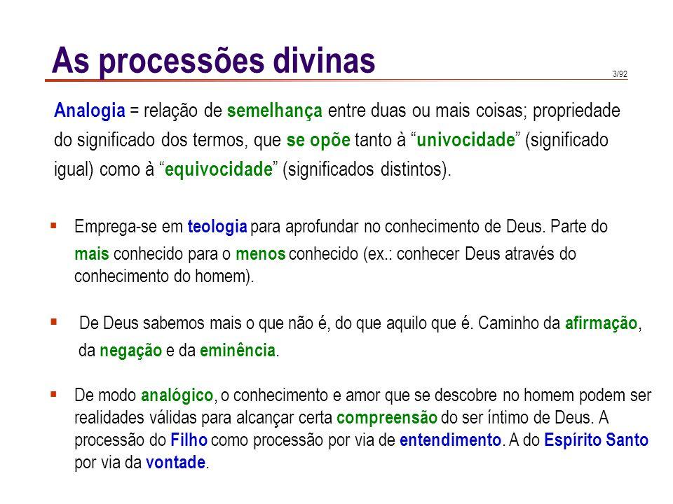 As processões divinas Analogia = relação de semelhança entre duas ou mais coisas; propriedade.