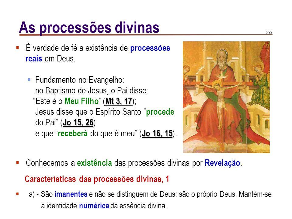 As processões divinas É verdade de fé a existência de processões