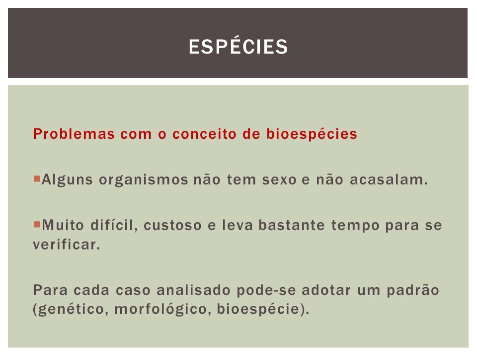 Espécies Problemas com o conceito de bioespécies