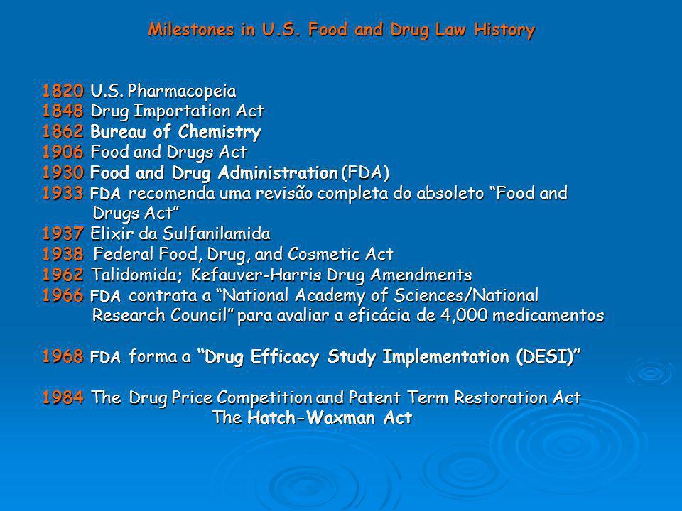 Milestones in U.S. Food and Drug Law History