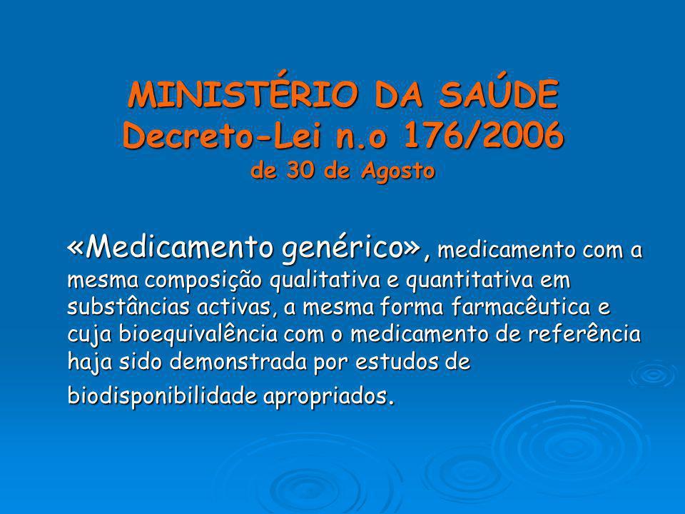 MINISTÉRIO DA SAÚDE Decreto-Lei n.o 176/2006 de 30 de Agosto