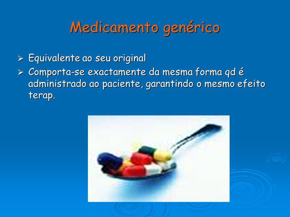Medicamento genérico Equivalente ao seu original