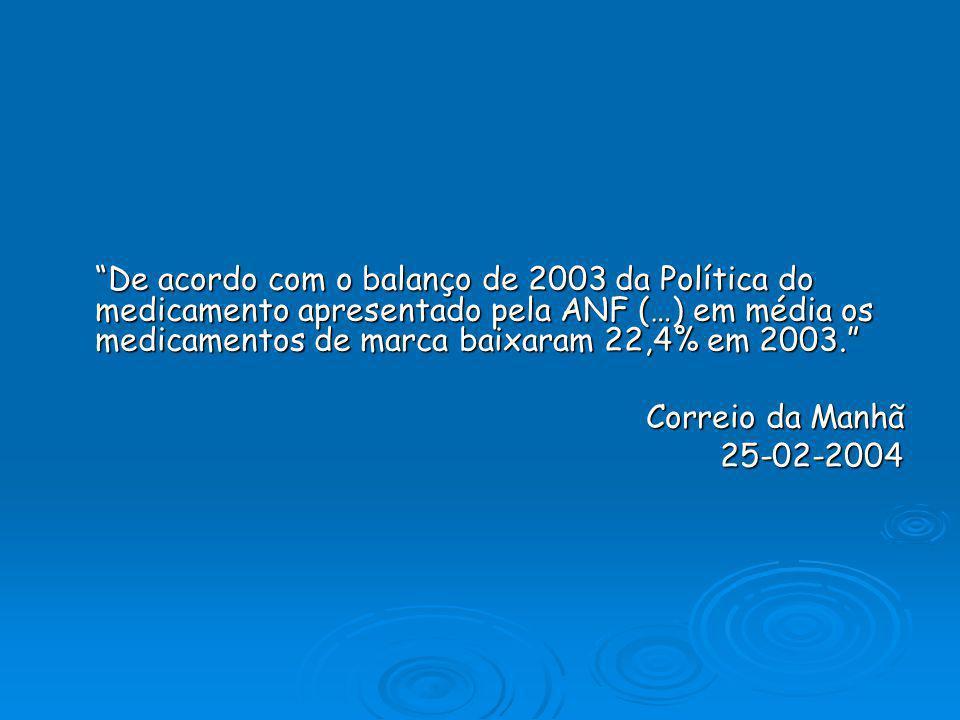 De acordo com o balanço de 2003 da Política do medicamento apresentado pela ANF (…) em média os medicamentos de marca baixaram 22,4% em 2003.