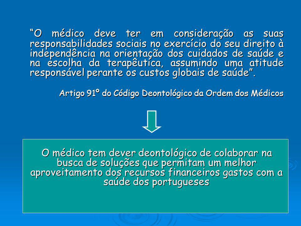 O médico deve ter em consideração as suas responsabilidades sociais no exercício do seu direito à independência na orientação dos cuidados de saúde e na escolha da terapêutica, assumindo uma atitude responsável perante os custos globais de saúde .