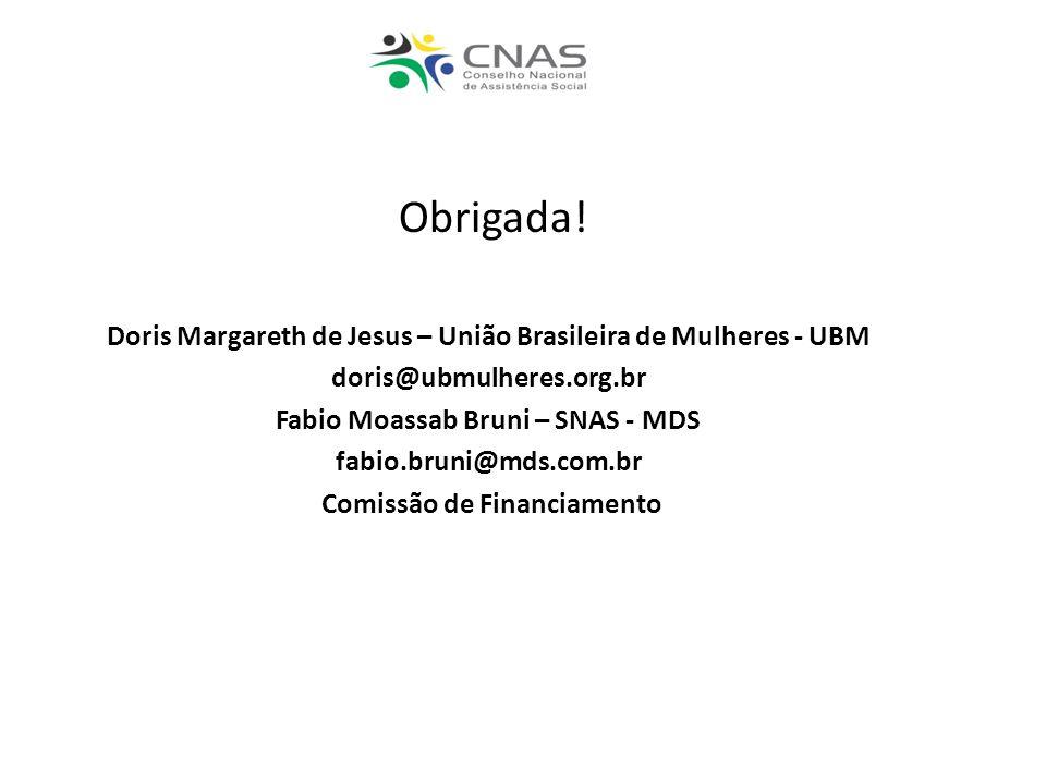 Obrigada! Doris Margareth de Jesus – União Brasileira de Mulheres - UBM. doris@ubmulheres.org.br. Fabio Moassab Bruni – SNAS - MDS.