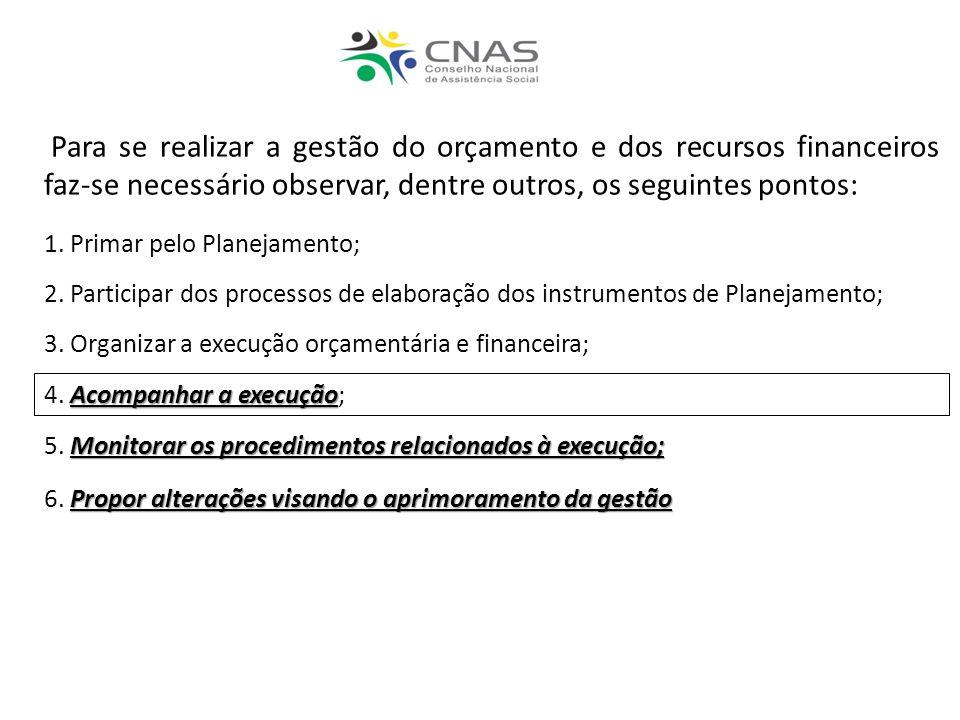 Para se realizar a gestão do orçamento e dos recursos financeiros faz-se necessário observar, dentre outros, os seguintes pontos: