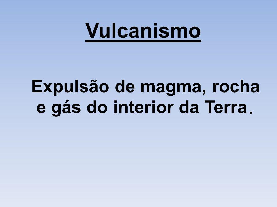 Expulsão de magma, rocha e gás do interior da Terra.