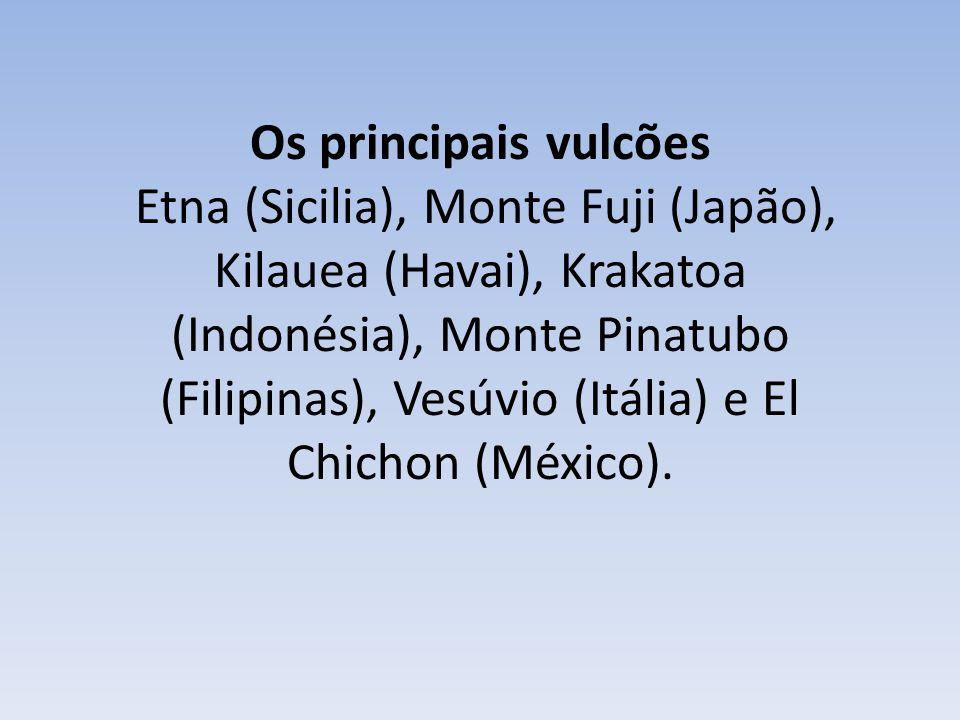 Os principais vulcões Etna (Sicilia), Monte Fuji (Japão), Kilauea (Havai), Krakatoa (Indonésia), Monte Pinatubo (Filipinas), Vesúvio (Itália) e El Chichon (México).