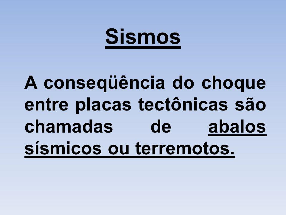 Sismos A conseqüência do choque entre placas tectônicas são chamadas de abalos sísmicos ou terremotos.