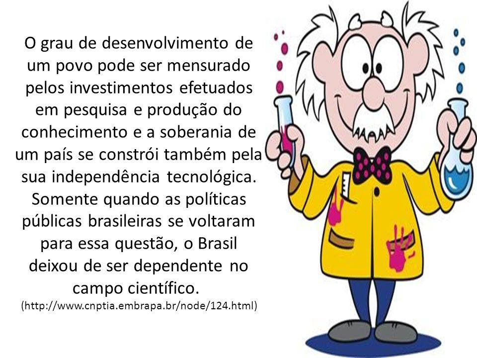 O grau de desenvolvimento de um povo pode ser mensurado pelos investimentos efetuados em pesquisa e produção do conhecimento e a soberania de um país se constrói também pela sua independência tecnológica. Somente quando as políticas públicas brasileiras se voltaram para essa questão, o Brasil deixou de ser dependente no campo científico.