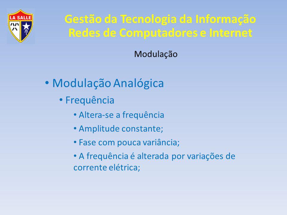 Modulação Analógica Frequência Modulação Altera-se a frequência