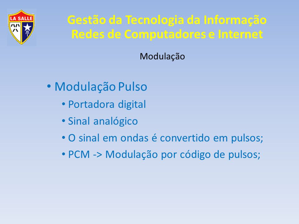 Modulação Pulso Portadora digital Sinal analógico