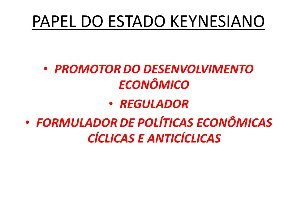 PAPEL DO ESTADO KEYNESIANO