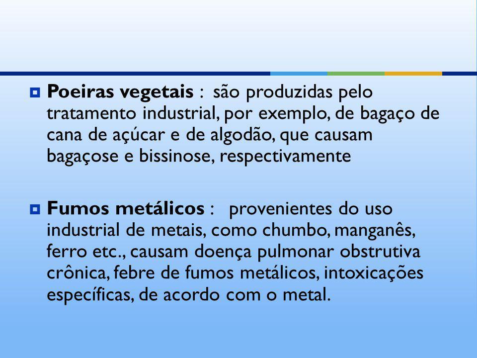 Poeiras vegetais : são produzidas pelo tratamento industrial, por exemplo, de bagaço de cana de açúcar e de algodão, que causam bagaçose e bissinose, respectivamente