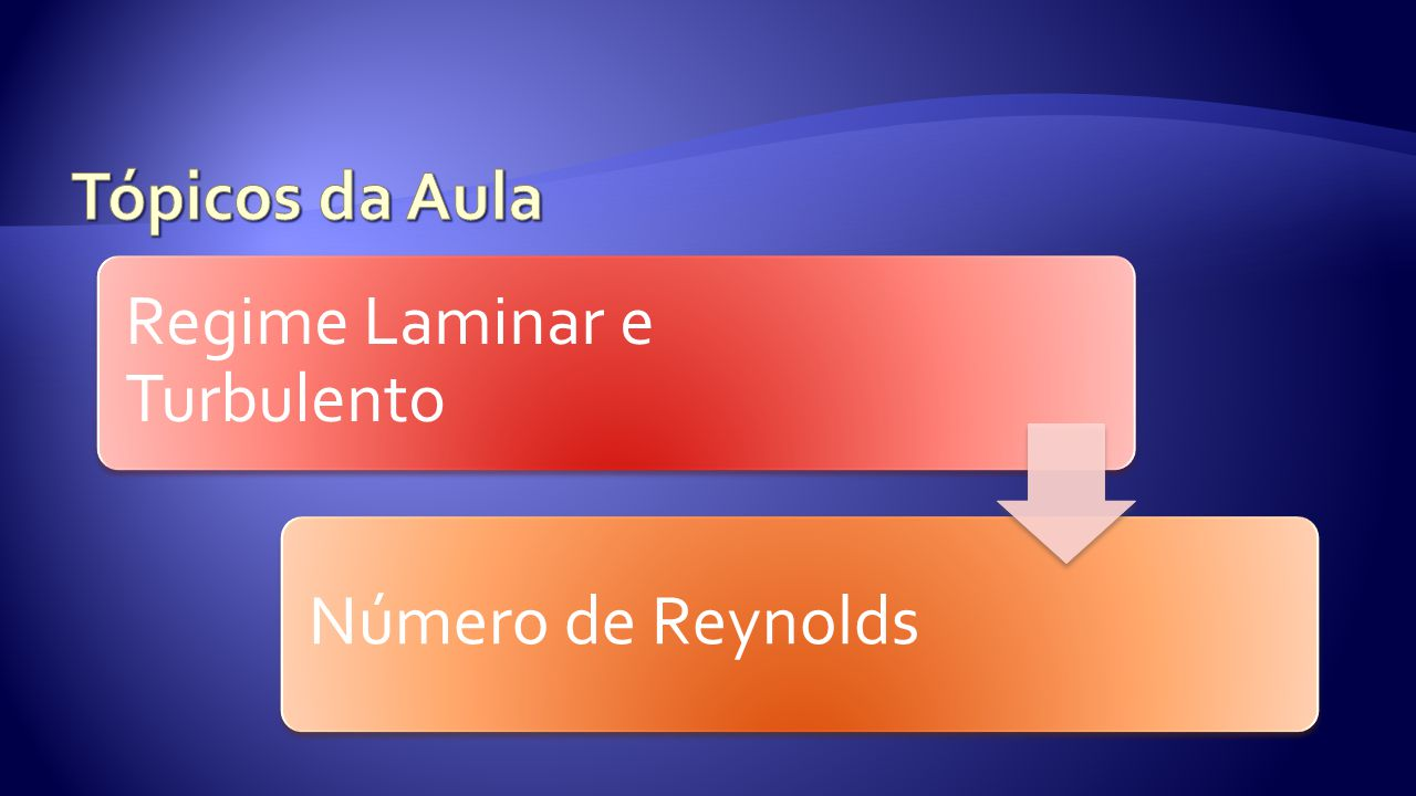 Tópicos da Aula Regime Laminar e Turbulento Número de Reynolds