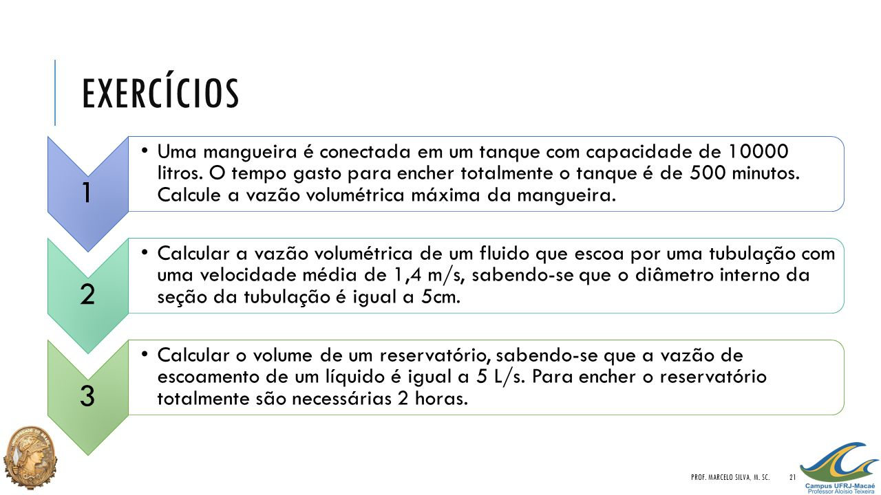 Exercícios Prof. Marcelo Silva, M. Sc. 1