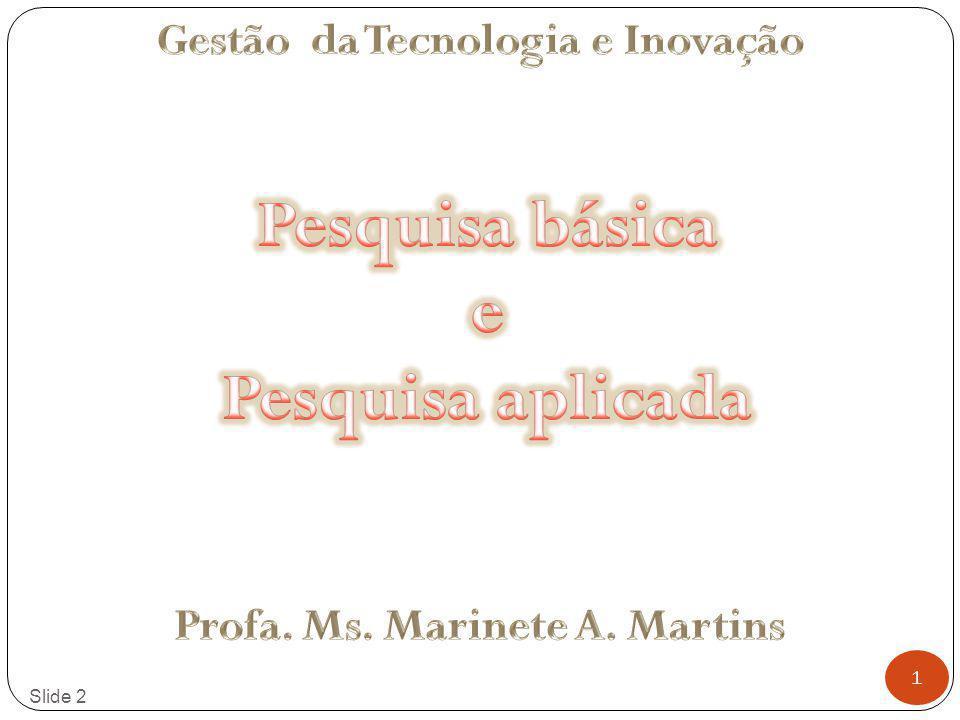 Gestão da Tecnologia e Inovação Profa. Ms. Marinete A. Martins