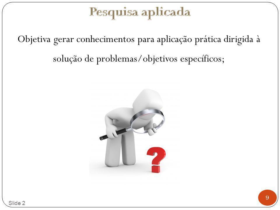 Pesquisa aplicada Objetiva gerar conhecimentos para aplicação prática dirigida à solução de problemas/objetivos específicos;