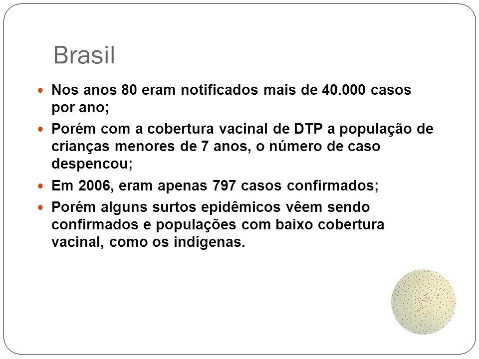 Brasil Nos anos 80 eram notificados mais de 40.000 casos por ano;