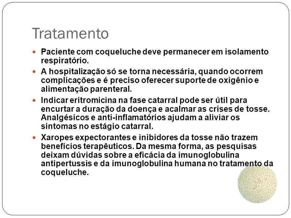 Tratamento Paciente com coqueluche deve permanecer em isolamento respiratório.