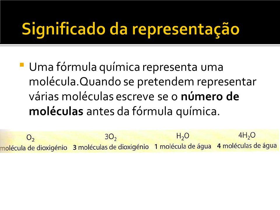 Uma fórmula química representa uma