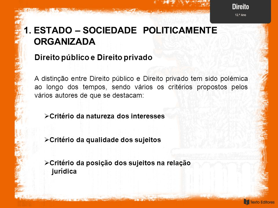 1. ESTADO – SOCIEDADE POLITICAMENTE ORGANIZADA
