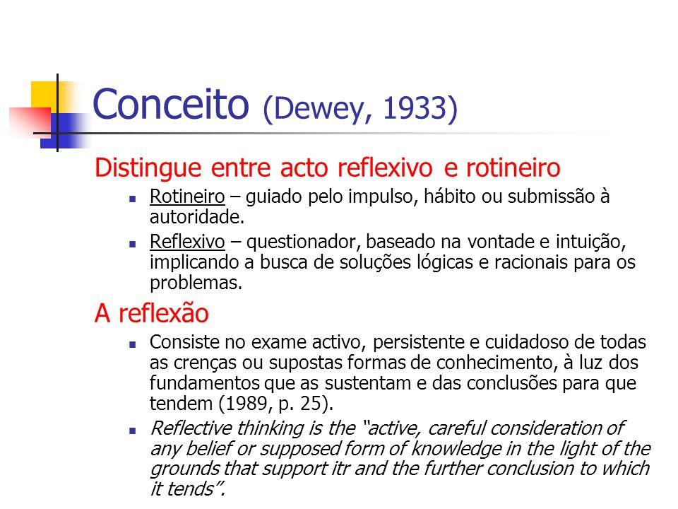 Conceito (Dewey, 1933) Distingue entre acto reflexivo e rotineiro