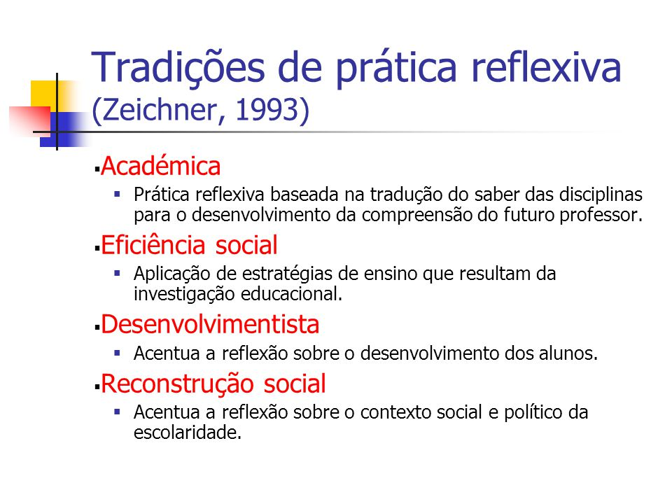 Tradições de prática reflexiva (Zeichner, 1993)