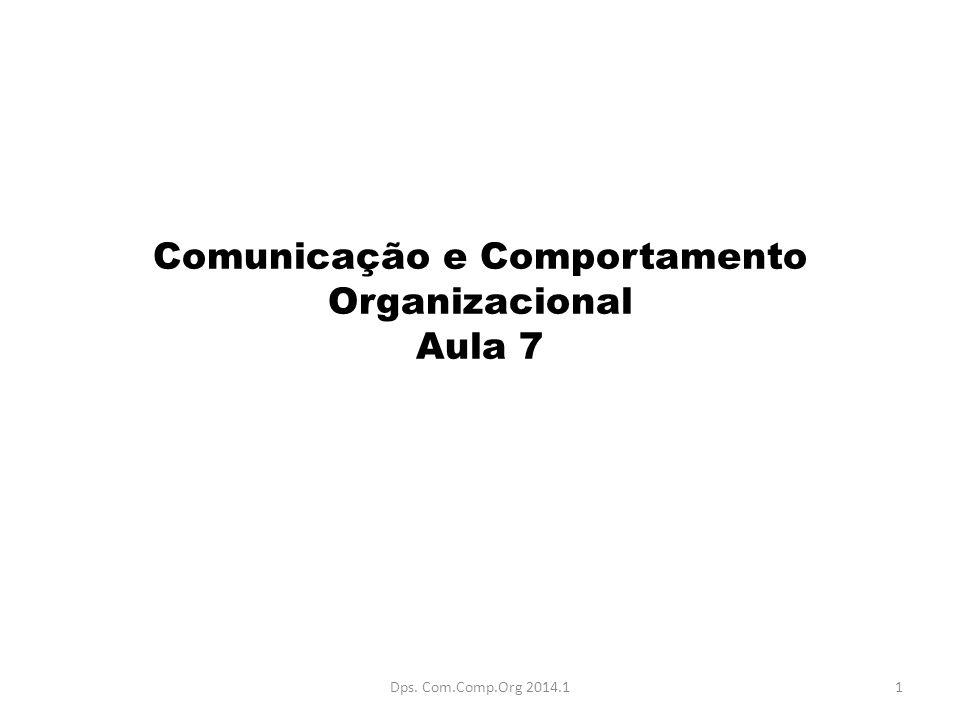 Comunicação e Comportamento Organizacional Aula 7
