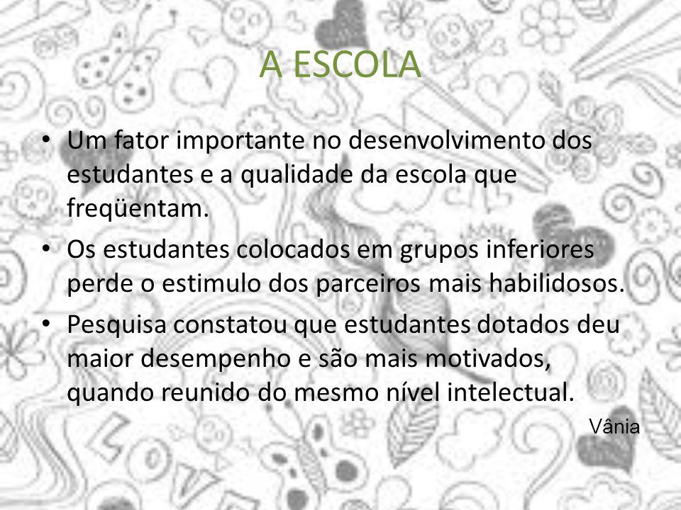 A ESCOLA Um fator importante no desenvolvimento dos estudantes e a qualidade da escola que freqüentam.