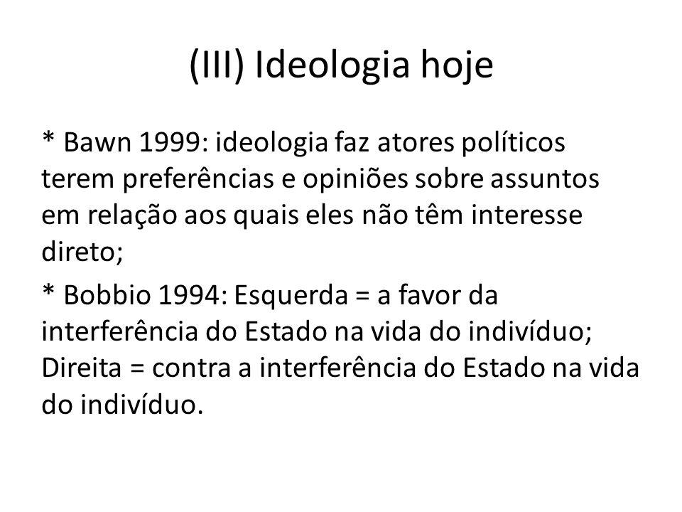 (III) Ideologia hoje