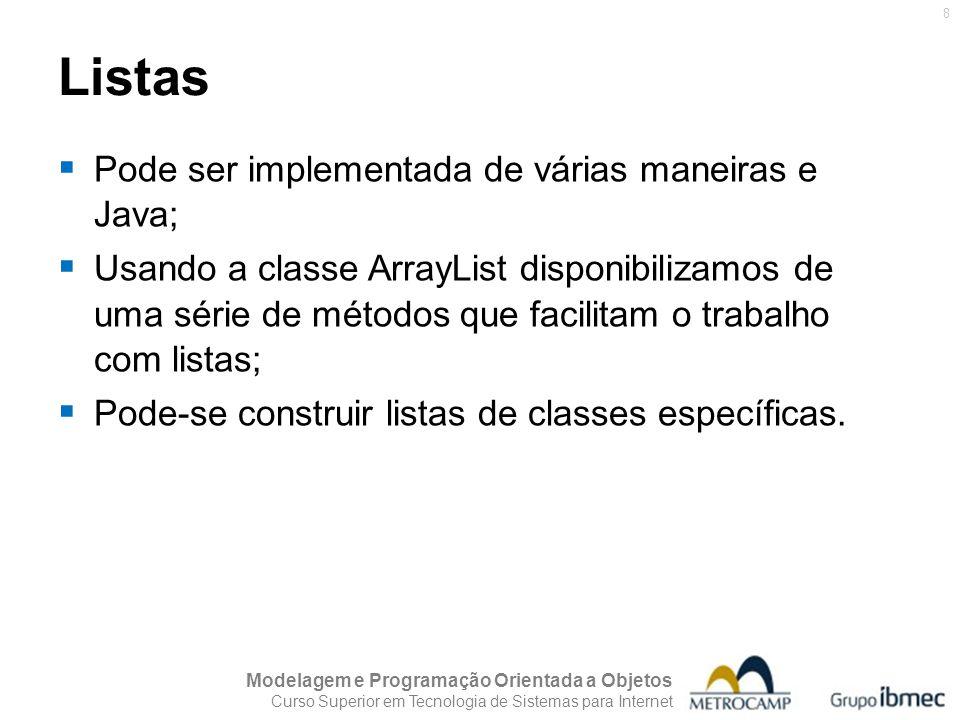 Listas Pode ser implementada de várias maneiras e Java;