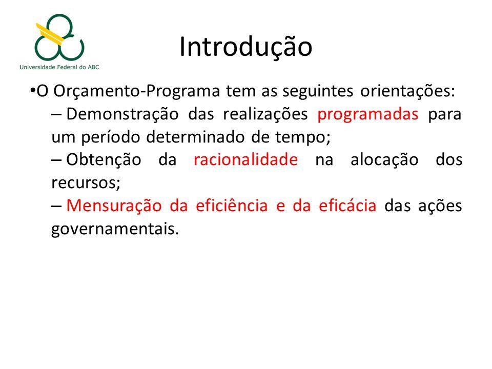 Introdução O Orçamento-Programa tem as seguintes orientações: