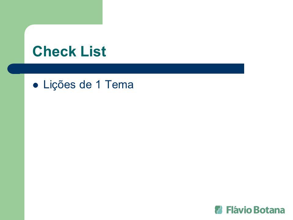 Check List Lições de 1 Tema