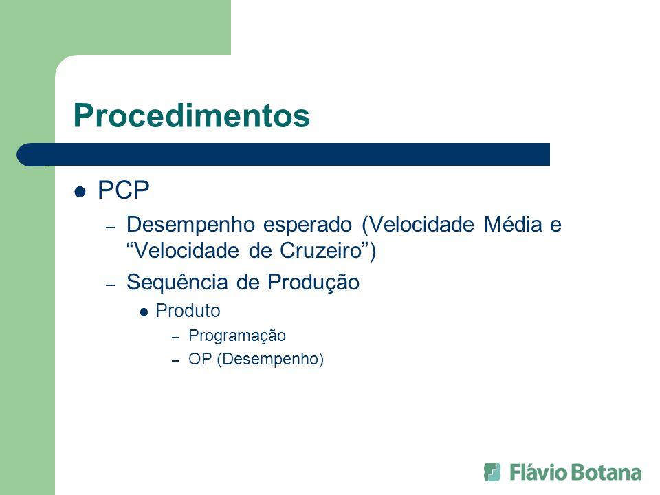 Procedimentos PCP. Desempenho esperado (Velocidade Média e Velocidade de Cruzeiro ) Sequência de Produção.