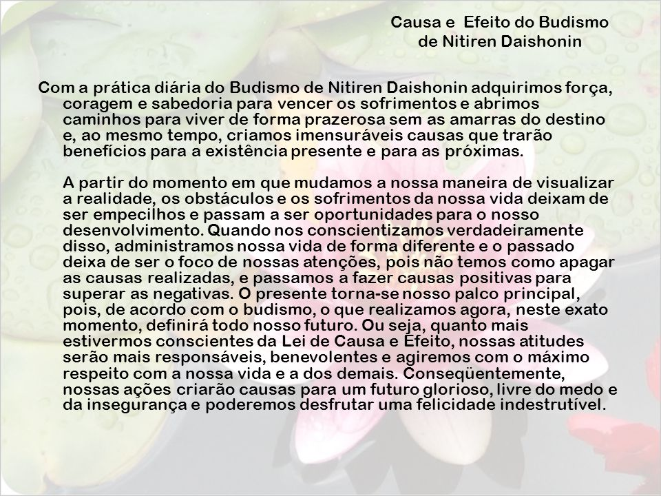 Causa e Efeito do Budismo de Nitiren Daishonin