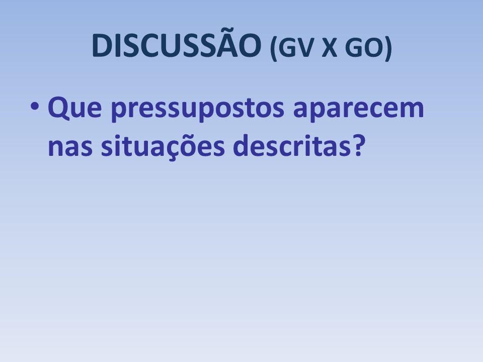 DISCUSSÃO (GV X GO) Que pressupostos aparecem nas situações descritas